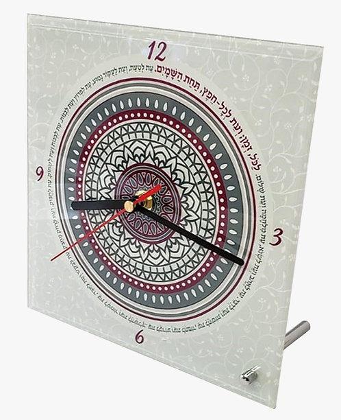 שעון שולחני - מנדלה אפור שחור בורדו