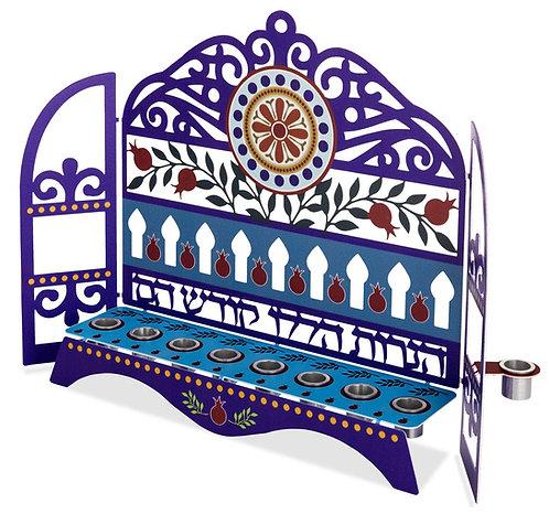 חנוכיה קהילות ישראל - דגם רימונים וסילסולים לנרות