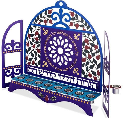 חנוכיה קהילות ישראל - דגם רימונים לנרות