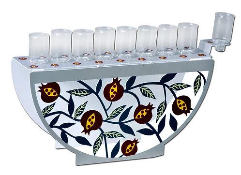 חנוכיה צבעונית דגם רימונים להדלקה בשמן או נרות