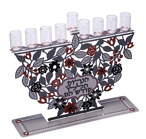 חנוכיה מעוצבת צבעונית דגם פרחים, להדלקה בשמן