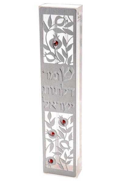 מזוזה בעיטור רימונים, כיתוב - שומר דלתות ישראל