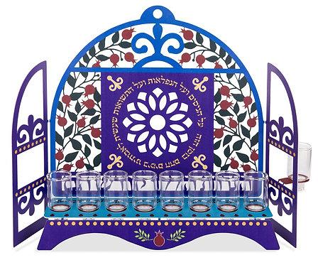 חנוכיה קהילות ישראל - דגם רימונים לשמן