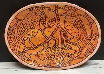Oval Plate with Birds