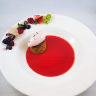 Olive Oil Cake, Rhubarb & St. Germain Brodo