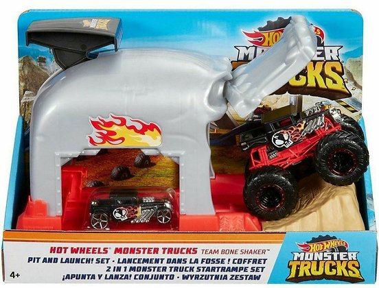 Hot Wheels Pista - Monster Truck Lancador Team Bone Shaker