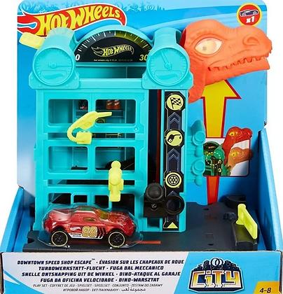 Hot Wheels Pista - Fuga do Dino na Oficina