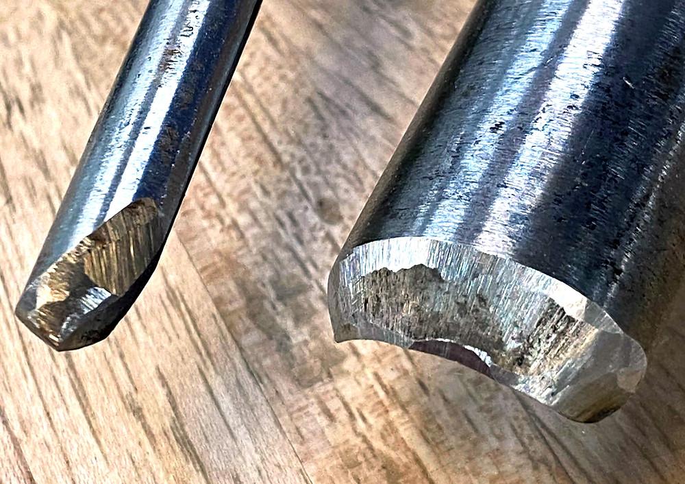 Poorly sharpened lathe tools