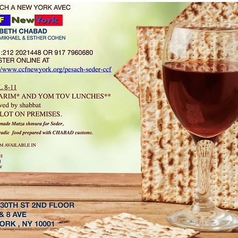 Passover Sedarim, Yom tov Meal and shabat