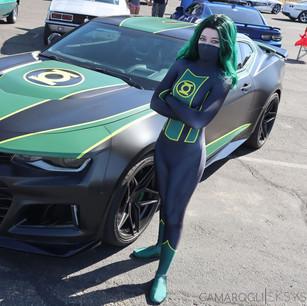 Green Lantern and her Camaro