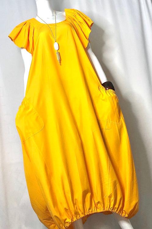 Mustard Balloon Style  Dress