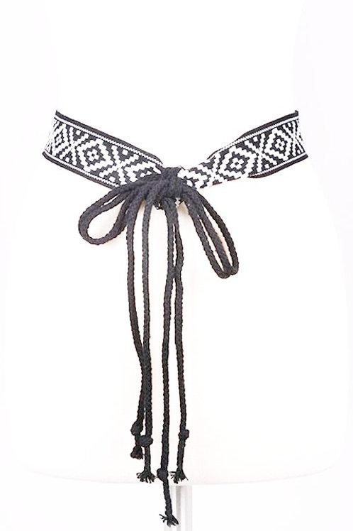 Tribal Print Tie Belt