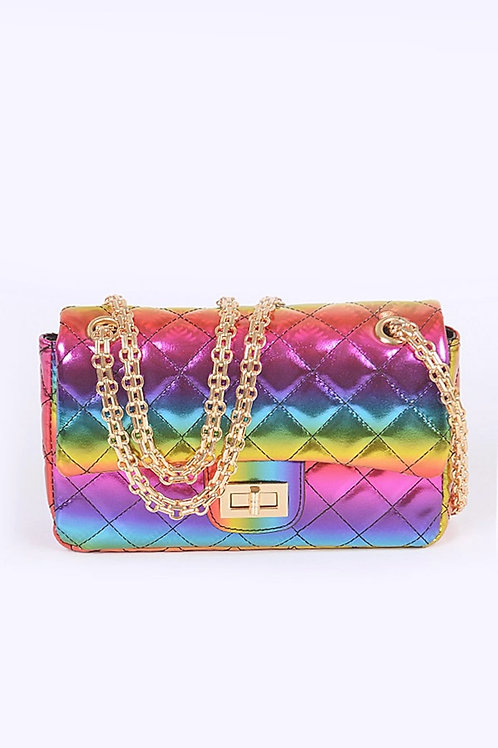 Metallic Rainbow Quilted Shoulder Handbag