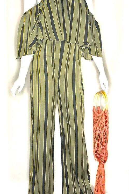 Stripe Olive Jumpsuit