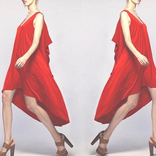 LRD|Red High Low Dress