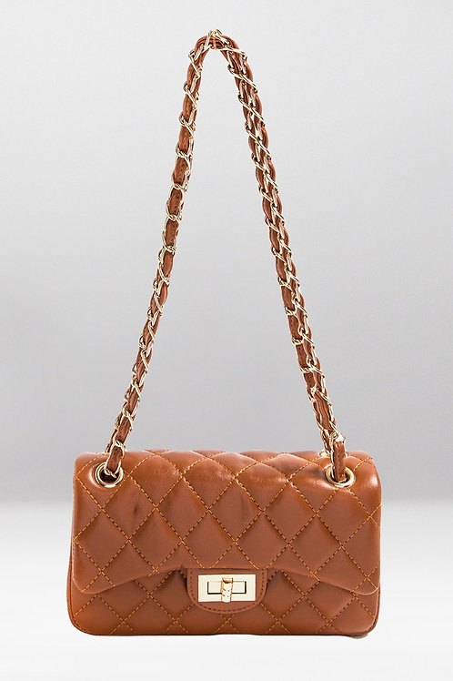 Quilted Twist Lock Shoulder Handbag