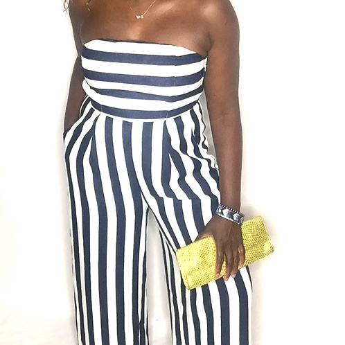 Strapless Striped Tube Jumpsuit