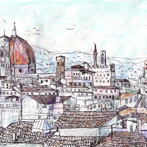 Florence At Dusk From Palazzo Magnani Feroni