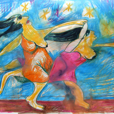 Two Women Running on the Beach, After Picasso