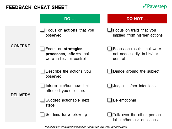 feedback cheat sheet