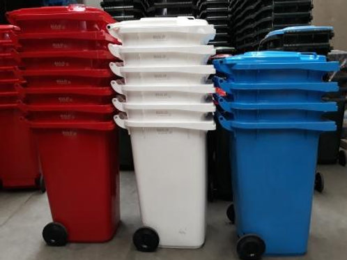 wheelie bins,red,white,blue,240L