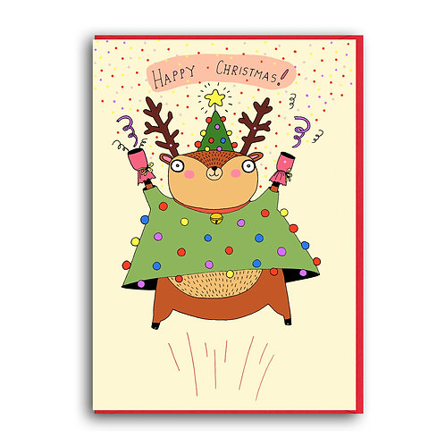 Happy Christmas. Reindeer.