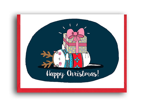 Happy Christmas Cat Reindeer.