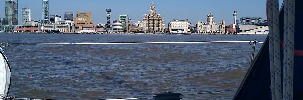 Sailing up the Mersey in Liverpool