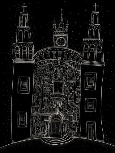 Plein aire sketch church in Mexico