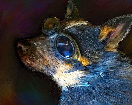 Digital Painting of Mago in his Doggles