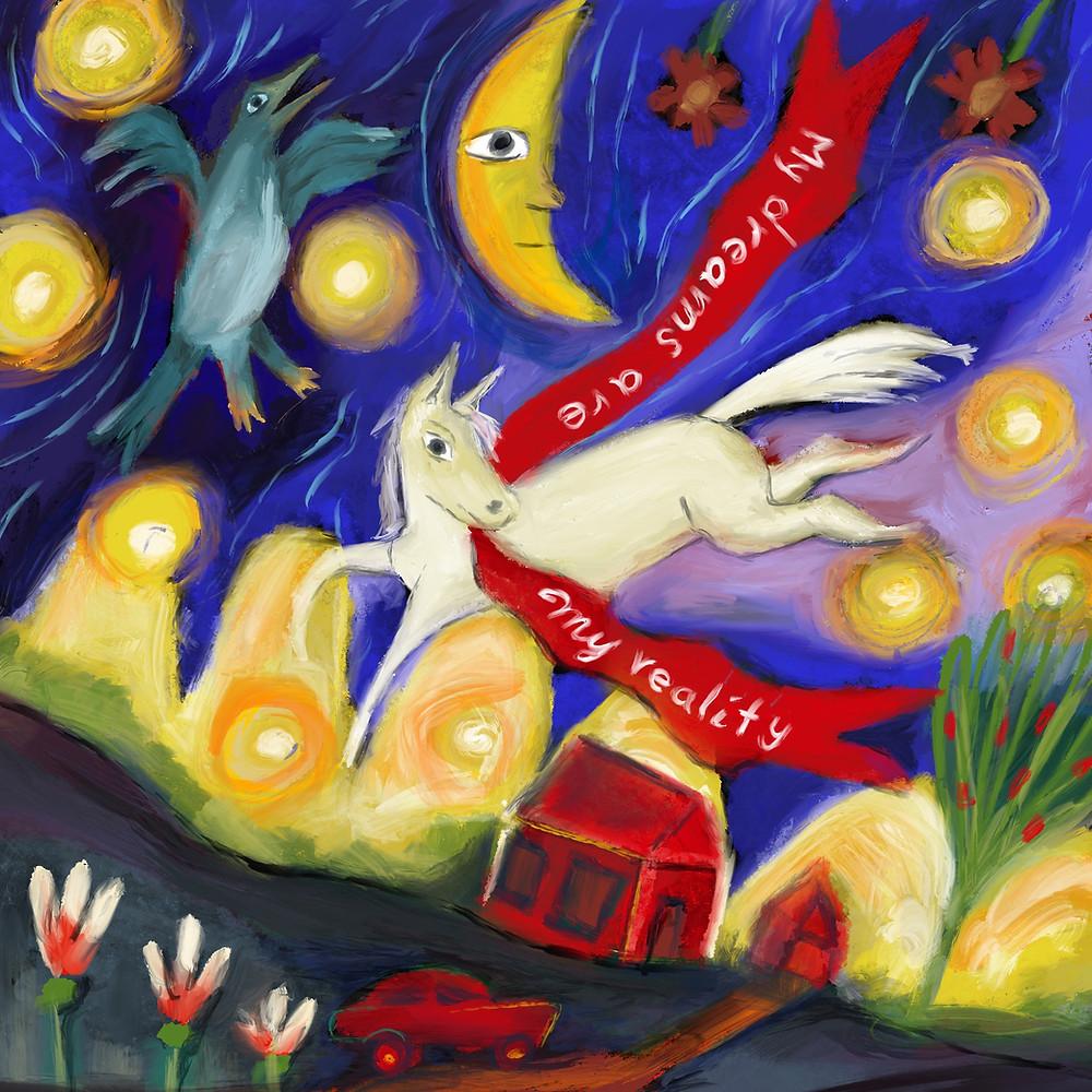 white horse with slogan ribbon