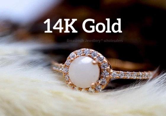 14K Gold Halo Ring