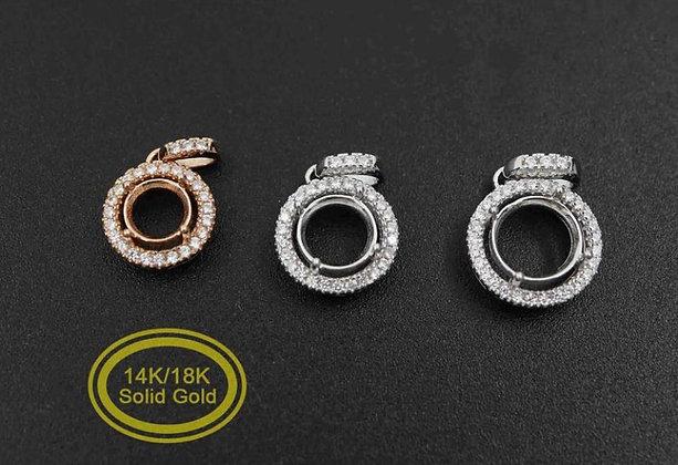 14K Gold Halo Necklace