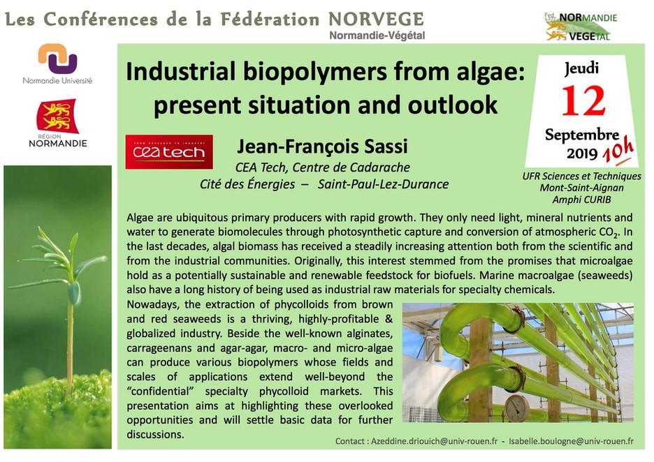Le 12 septembre 2019 à 10h, Amphi CURIB, MSA: le Dr. Jean-Francois Sassi (CEA Tech, Centre de Cadara