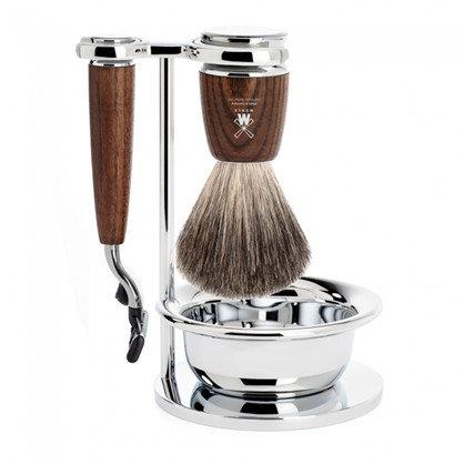 Mühle Barbersæt med Mach3 Skraber, Holder, Barberkost og Skål, Rytmo Ask