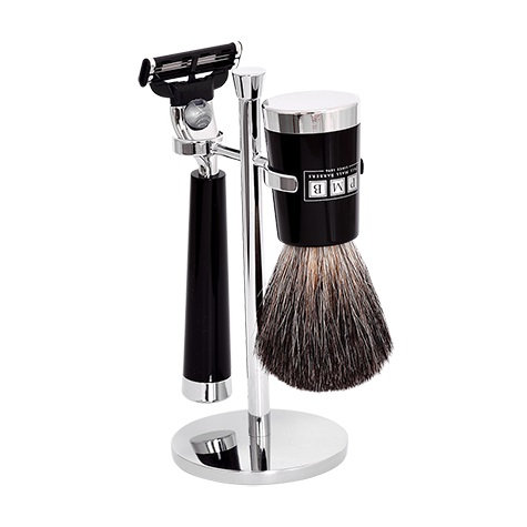 The Fitzrovia Mach3 Black Resin Shaving Sæt