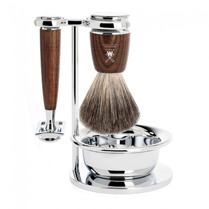Mühle Barbersæt med DE-skraber, Holder, Barberkost og Skål, Rytmo Ask