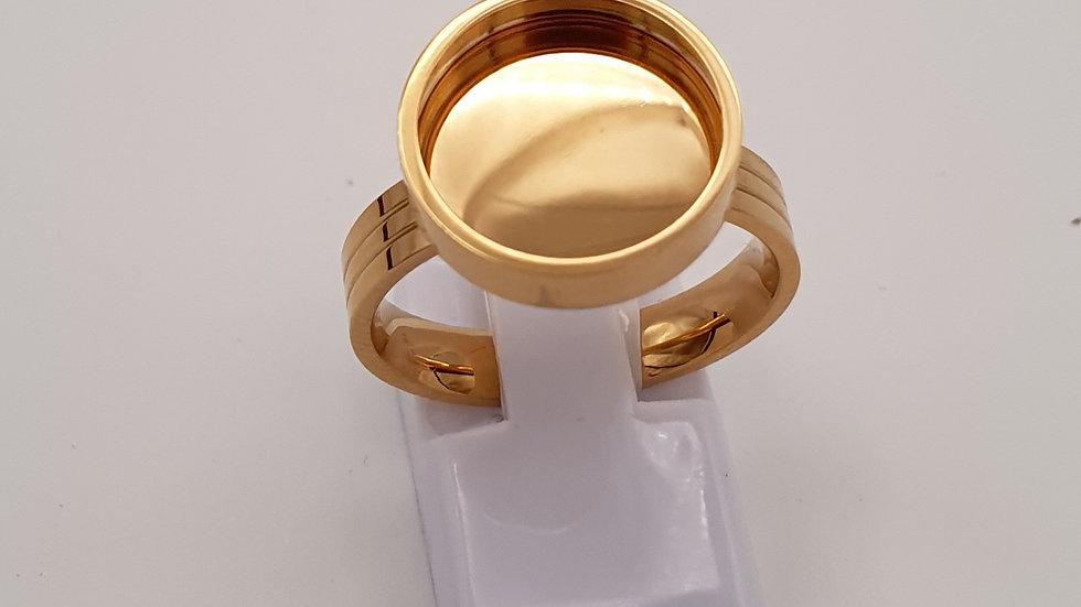 Bague acier doré pour pierre interchangeable
