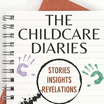 "alt=""childcare diaries, podcast cover, childcare podcast, notebook on brown diary"""