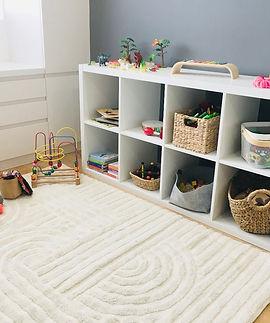 "alt=""kallax white shelf, abacus, toys on shelf, charcoal wall, white desk and cupboard"""