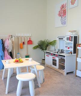 "alt=""play kitchen, dress up rack, Kmart nursery rack, children's table and stools white"""