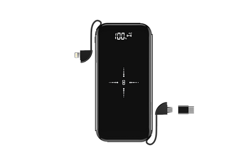 8,000mAh Wireless Charging Powerbank & Lightning, MicroUSB & Type C Cable - Blac