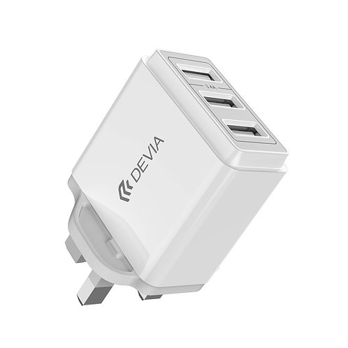3.4A Triple USB 3-Pin UK Charging Plug - White