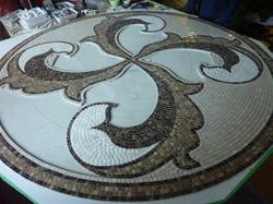 Circular marble inlay in fabrication