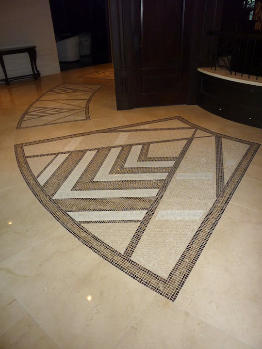 North facing mosaic marble inlay