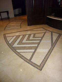 North facing mosaic marble inlay