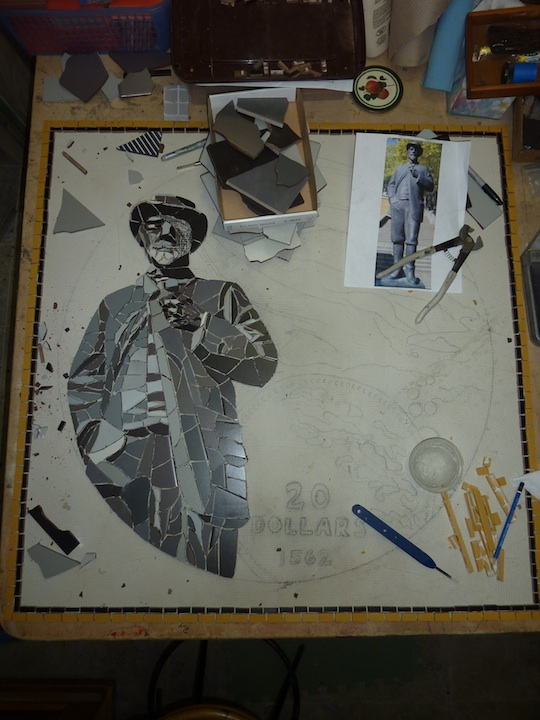 'Gold Rush' mosaic work in progress