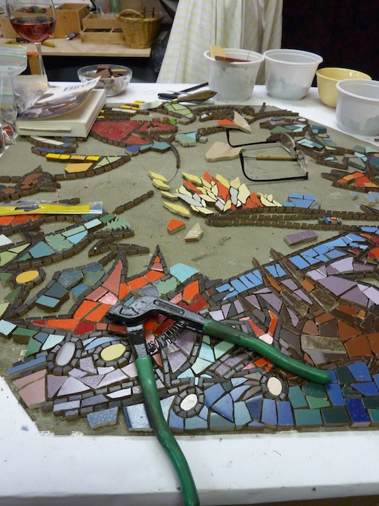 Queensburry mosaic in progress