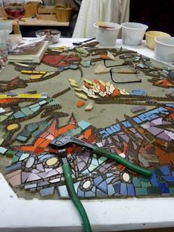 Queensburry mosaic in progress