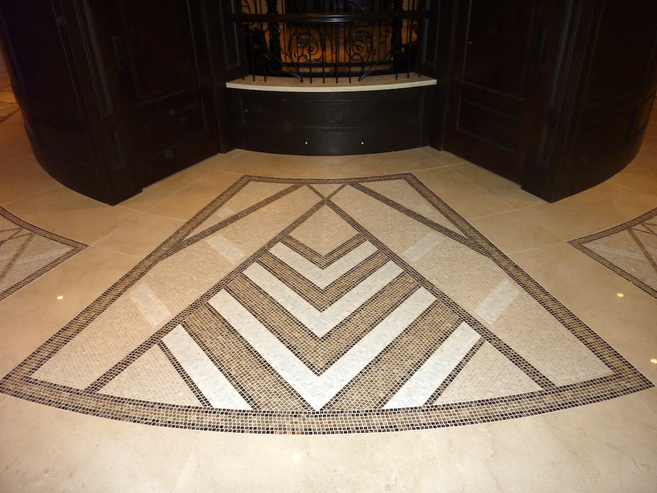 North facing feature marble inlay